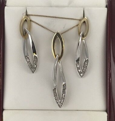 9ct Yellow And White Gold Diamond Pendant And Earring Set 4.33 Grams