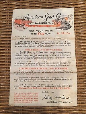 Vintage The American Seed Co. Lancaster PA contest Advertisement
