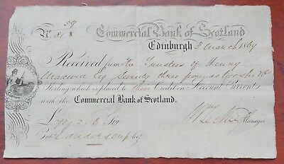 Scotland, Commercial Bank of Scotland, Edinburgh, £73 deposit receipt dated 1869