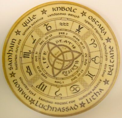 Wheel of The Year Wooden Altar Tile Hand Made Pagan Wicca Ritual Witchcraft 4""