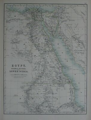 Original 1870 Map EGYPT ARABIA SUDAN Caravan Routes Oases Nile River Red Sea