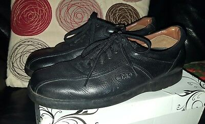 Mens Black Leather Hush Puppies Comfortable Lace Up Shoes Size UK 7 EU 40