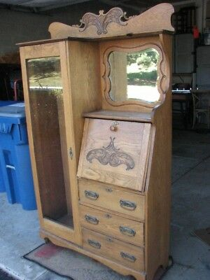 Antique Oak Side By Side Secretary