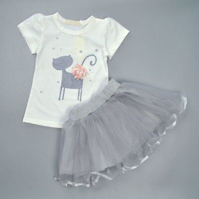 Pretty Girls Casual Holiday Silver White Camilla the Cat T-Shirt and Tutu Set