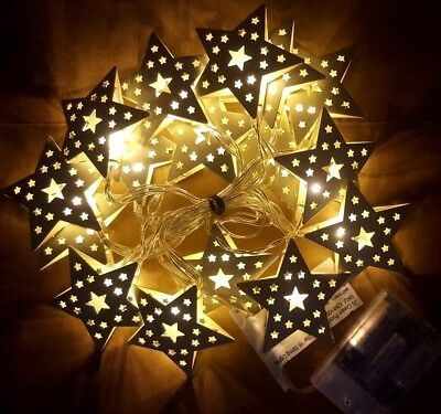 Christmas White Metal STRING STAR Fairy Lights 16 X WARM WHITE LED BATTERY 2.45M