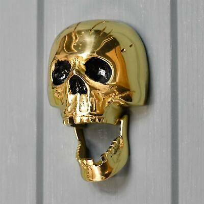 Polished Brass Skull Door Knocker - Supplied With Fixings