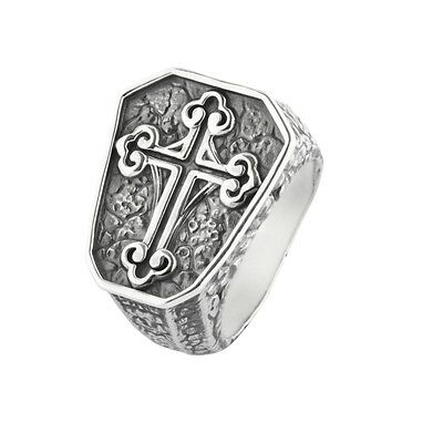 Ring with Cross rebeligion Silver Black Rock 01 0390371001 Size 60 Seal Ring