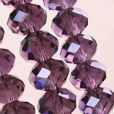 Best 100pcs 6x4mm Crystal glass Loose Beads purple AB FREE SHIPPING