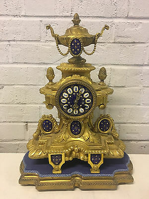 Antique Likely French Gilt Bronze Clock w/ Enamel Face & Decoration w/ Stand