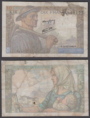 France 10 Francs 1942 (F) Condition Banknote P-99b
