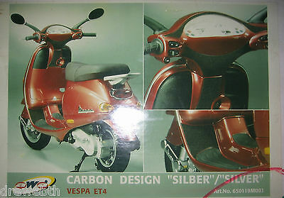 Original Piaggio VESPA ET2 ET4 Carbon Aufkleber Dekor Decal Sticker SET