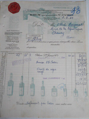 Facture et bon de transports Rhum Saint James 1940