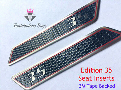 VW Golf GTI Edition 35 Seat Inserts Handle Pair Metal Alloy Lever Sticker Badge