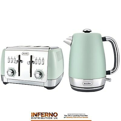 BREVILLE Strata Jug Kettle and 4 Slice Matching Toaster Set in Matt Green