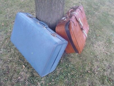 Vintage blue hard shell suitcase + retro brown soft zip up travel luggage