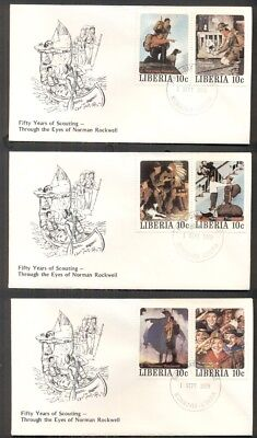 NORMAN ROCKWELL BOY SCOUT STAMPS on covers - 5 different 10¢ stamps