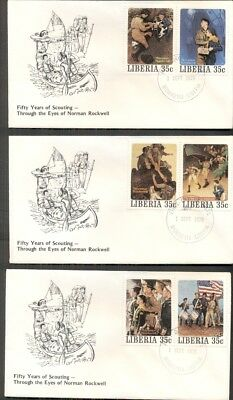 NORMAN ROCKWELL BOY SCOUT STAMPS on covers - 5 different 35¢ stamps