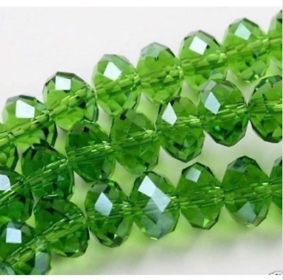 Cute100pcs 6x4mm Crystal glass Loose Beads green AB FREE SHIPPING