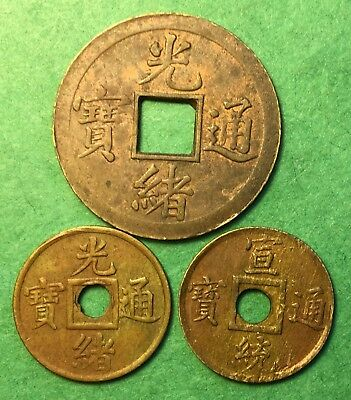 China Kwang-tung Province Cash (1890-1908) Y# 190/191/204, Total of 3 Coins