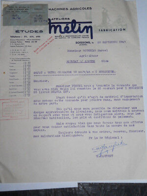 Facture Machine Agricole Melin Soissons 1945