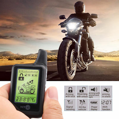 LCD 2Way Motorcycle Scooter Alarm Remote Engine Start Anti-theft Security System