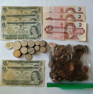 $37.35 Canadian coin & currency lot + BONUS over 2-1/2 LB pennies