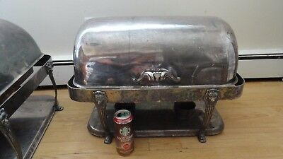 vintage huge chafing silver plate for restaurant or hotel lion legs buffet dish