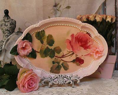 """~ French ~ Country ~ Shabby Chic ~ Decorative ~ Vanity Metal Tray """"Pink Rose"""" ~"""