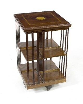 Edwardian Mahogany Revolving Bookcase with Inlaid Patera to the Top