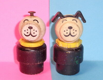 Vintage Fisher Price Little People 2 Dogs Yellow Collar    auction