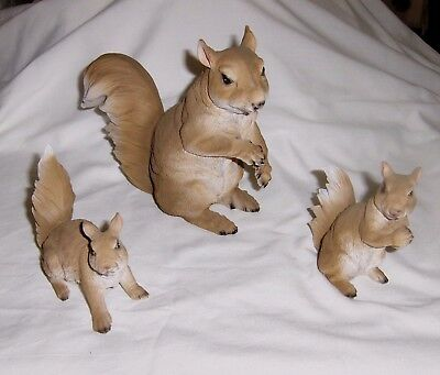 Resin 3 piece set (Mama and Two Baby Squirrels) Realistic Looking Figurine NIB