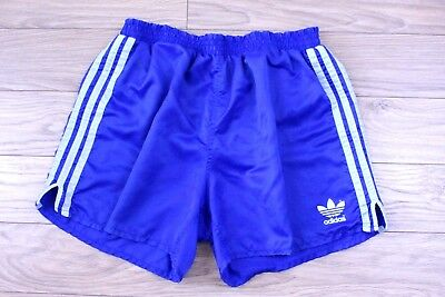 S96 Vtg Adidas 80s Men Shorts Glanz Sprint Blue Firebird Trefoil D7 F46 GB36 L
