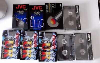 11 x JOBLOT NEW SEALED BLANK AUDIO CASSETTE TAPES SCOTCH  MAXELL JVC