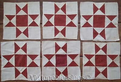 EARLY TURKEY RED Set Of 6 Antique Ohio Star Quilt Blocks 1880's