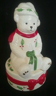 Lenox Holiday Teddy Bear w/ Package Present Gift Stackable Salt & Pepper Shakers