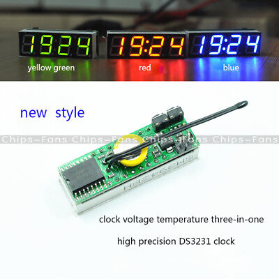 Green 3 in 1 LED DS3231SN Digital Clock Temperature Voltage Module thermometer C
