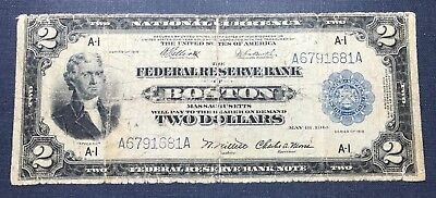 1918 $2 Federal Reserve Bank Note Boston G/VG Details