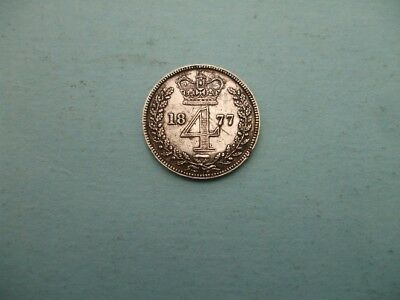 1877 Silver Victorian Four Pence, Light Wear Used ,fill Date Gap,.