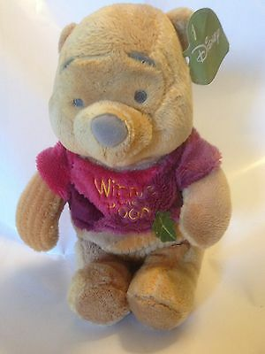 "Disney - Winnie The Pooh Wearing Pink /purple Top 10"" Plush Super Soft Toy - Nwt"