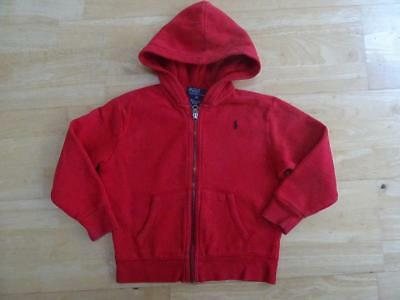 RALPH LAUREN POLO boys red hooded zip thru jumper AGE 3-4 YEARS 4T AUTHENTIC