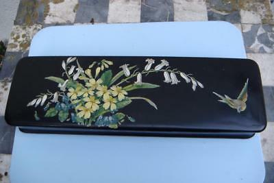vintage hand painted lacquered glove box