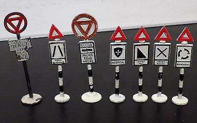 Vintage Painted Lead Road Signs x 7, 6 by Giltoy Co, England