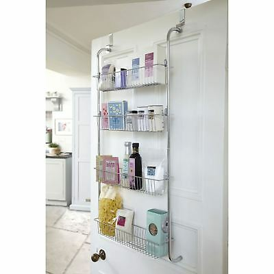 Chrome 4 Tier Over the Door Bathroom Kitchen Storage Rack Toiletries Spice Jars