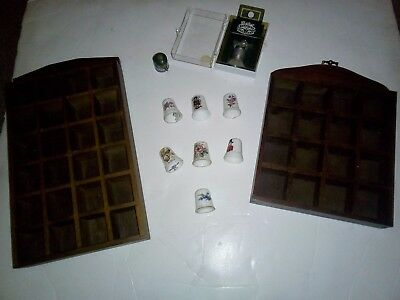 Thimbles : 2 showcases and 9 misc thimbles including 1 pewter 1 metal