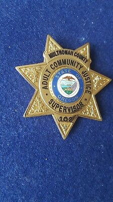 Multnomah County Oregon 7 Pt. Adult Community Justice Supervisor Badge HM