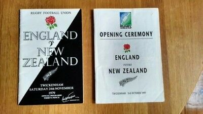 2 x England v New Zealand Rugby Union Programmes 1991 Wold Cup and 1979