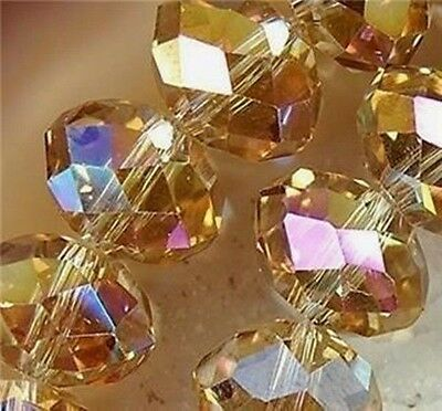 Cute 100pcs 6x4mm Crystal glass Loose Beads Champagne AB FREE SHIPPING