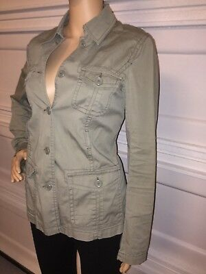 Motherhood Maternity green army military jacket size small button pockets