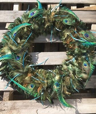 19 Inch diameter PEACOCK FEATHER WREATH 8 Eye PURPLE GREEN IRRIDESCENT colors