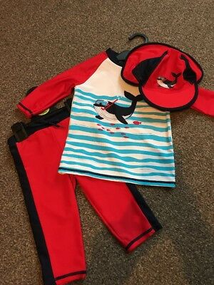 BNWT M&S Marks & Spencer's Baby Boys UV Sun Swimming Set Outfit 3 9-12 Months